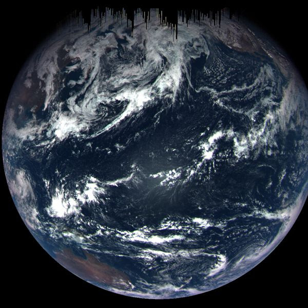 An image of Earth that was taken by NASA's OSIRIS-REx spacecraft from a distance of 106,000 miles (170,000 kilometers)...on September 22, 2017.