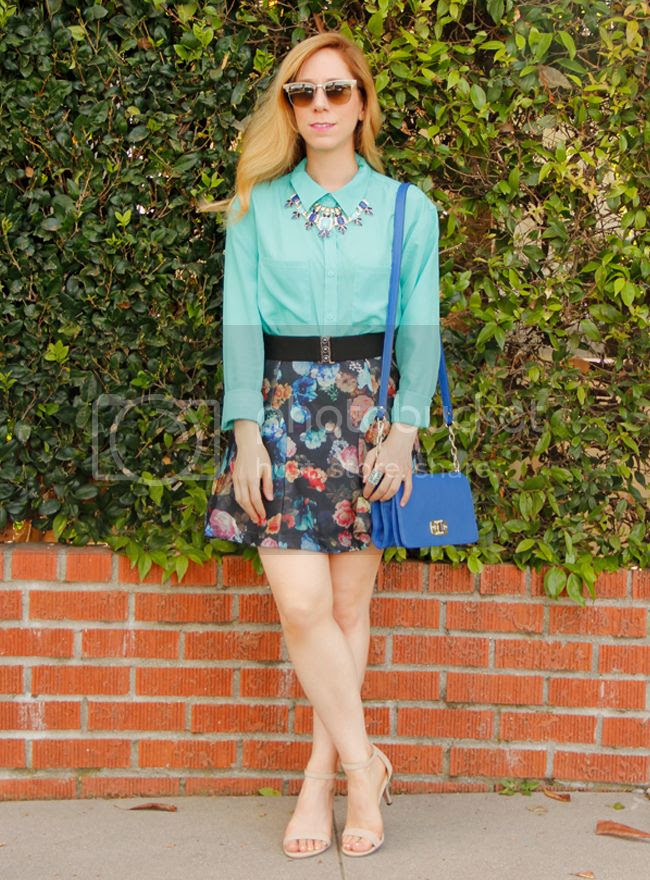 Ray-Ban clubmaster sunglasses, Target Mossimo mint blouse, Mossimo floral scuba skirt, statement fan necklace, and Merona turnlock mini crossbody bag