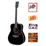 Yamaha FG720S Folk Acoustic Guitar Bundle with Instructional DVD, Strings, Pick Card, and Polishing Cloth - Black...
