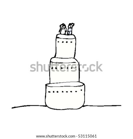 stock vector child 39s drawing of a wedding cake