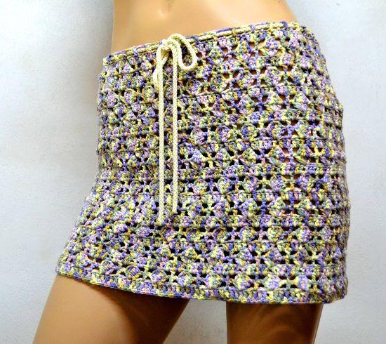 Falda platera en tejido crochet