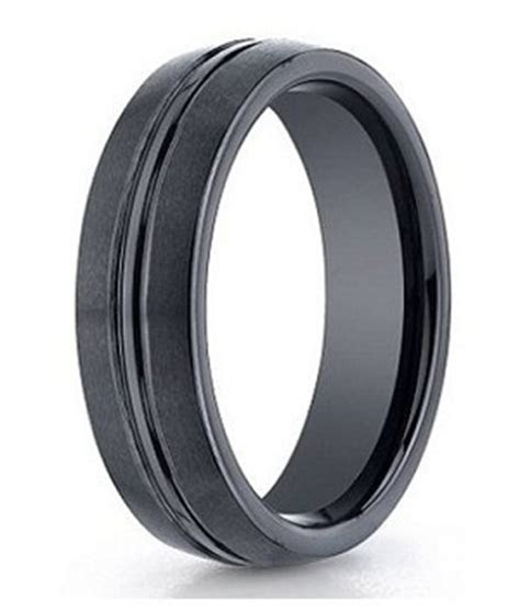 Seranite Mens Wedding Band   Polished Satin Finish