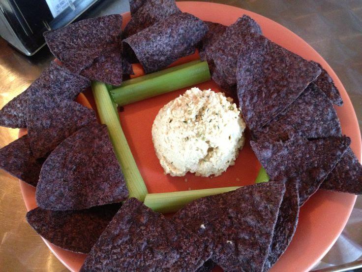 Dandelion Communitea Cafe -- the Happy Hempy Hummus is GF and SF.  http://dandelioncommunitea.com/eat/menu/
