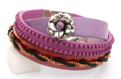 Wild roses and blackberries: Three leather bracelets