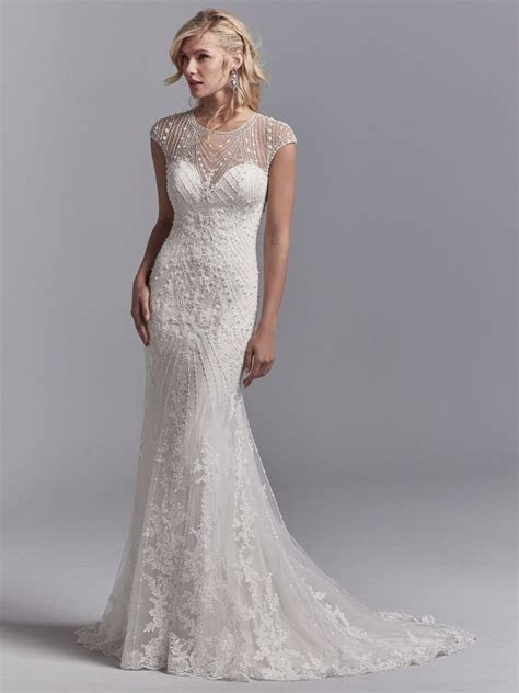 Illusion Cap Sleeve Beaded And Embroidered Fit And Flare