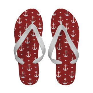 Anchors & Hearts Flip-Flops