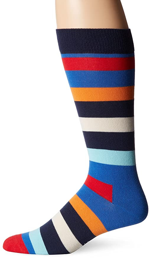 Happy Socks Men's 1Pk Combed Cotton Stripe Crew Sock, Assorted, 9-11