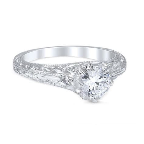 Vintage Style Novara Die Struck .87cttw Diamond Engagement
