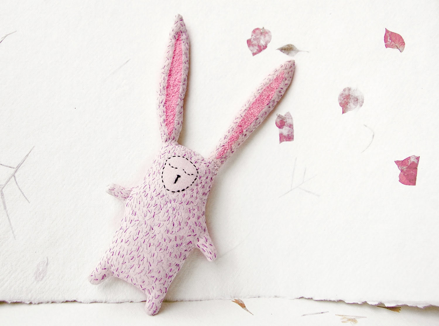 Easter Bunny Soft Plushie Stuffed Toy - Sleepy Bunny Eco Friendly Fabric Doll - Romantic Rabbit Softie Totem