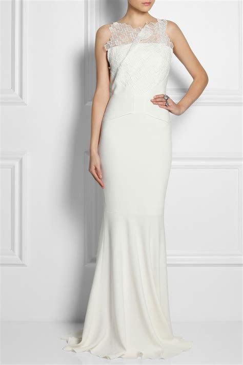 Roland Mouret   Mirah lace and stretch crepe fishtail gown