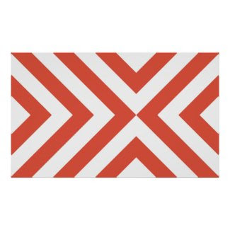 Orange and White Chevrons Print