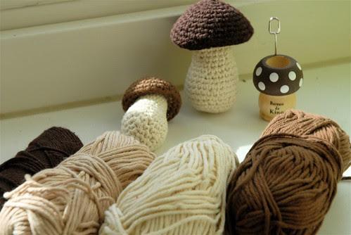 WIP crocheted mushrooms