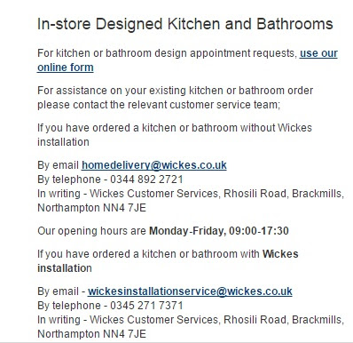 Wickes Customer Service Contact Number Local Rate 0330 123 4123