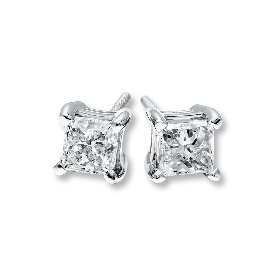 Nataliacerri Diamond Earrings 1 Ct Tw Princesscut 14k White