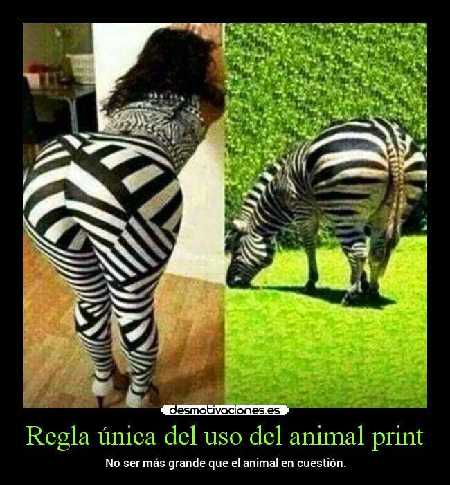Regla única Del Uso Del Animal Print Desmotivaciones