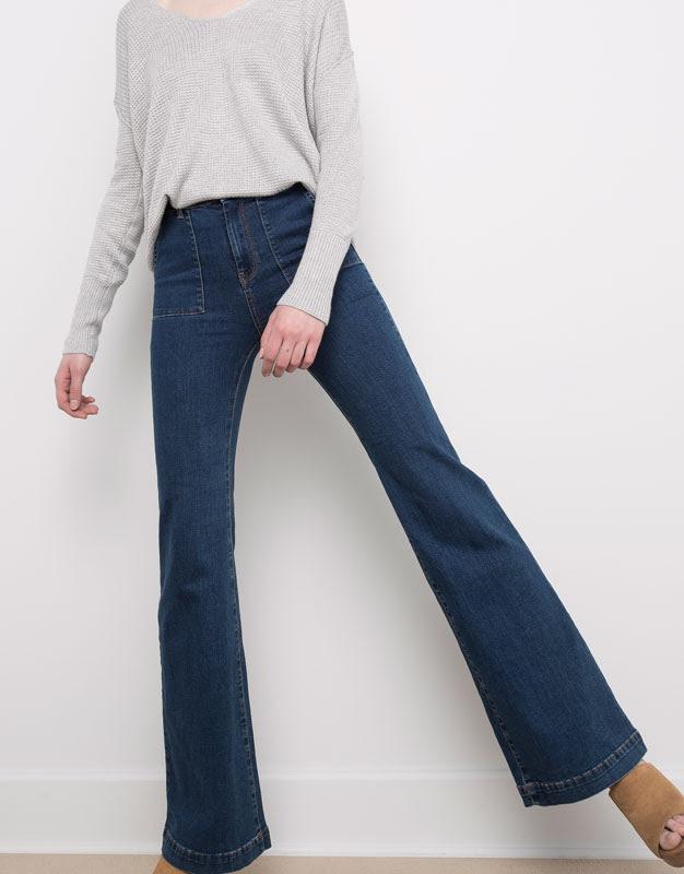 Pull&Bear - denim - jeans - jeans acampanado elástico bolsillo plastrón - azul oscuro - 09684319-V2016