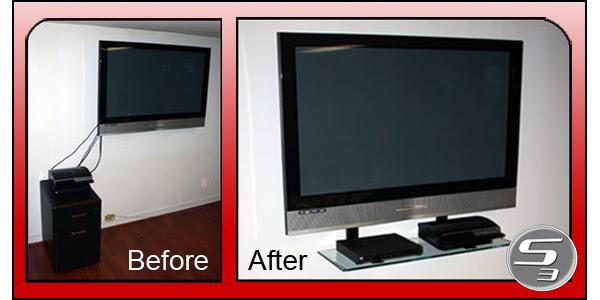 Floating shelf for flat screen TV wall mounts and TV setup