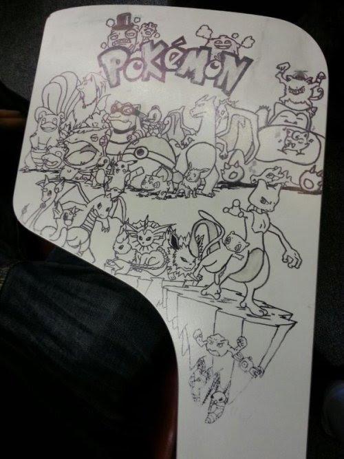 Incredible Pokemon Desk Doodles Gotta draw 'em all! Just don't let Professor Oak catch you.