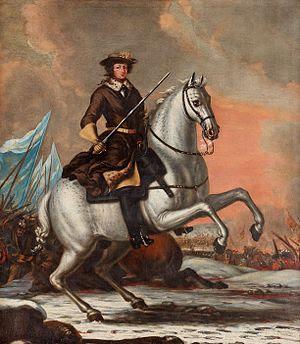 Kaarle XI Lundin taistelussa 4. joulukuuta 1676.