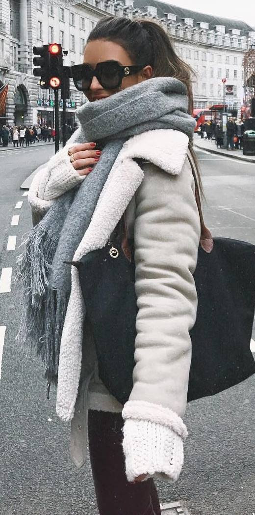 cozy outfit inspiration / cashmere scarf + sweater + bag + jacket + skinnies