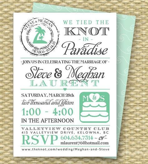 After Destination Wedding Reception Invitations