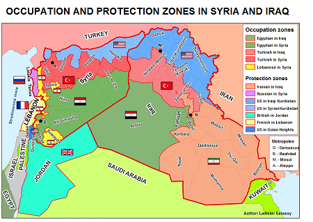 Occupation and Protection zones in Iraq and Syria.