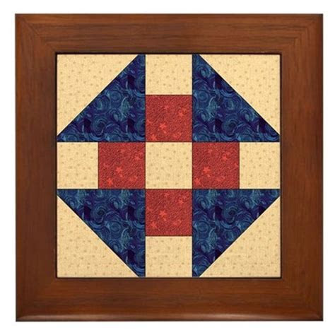 Monkey Wrench Quilt Block Framed Tile by quiltergear
