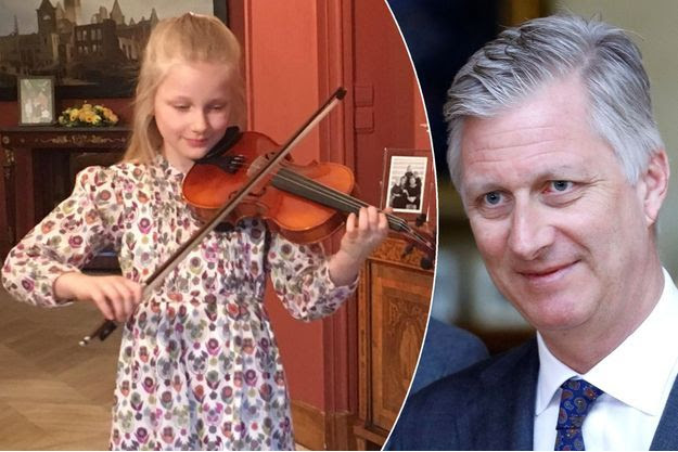 La princesse Eléonore de Belgique a joué du violon pour les 57 ans de son père le 15 avril 2017. A droite : le roi des Belges Philippe le 20 mars 2017