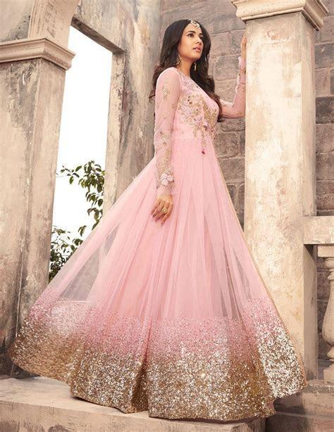 Light Pink Designer Embroidered Net Anarkali Suit in 2019