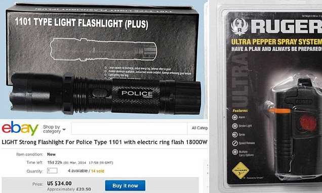 Illegal: The stun gun, top left, was advertised as - and designed to look like - a torch to get round eBay safeguards. The Mail on Sunday was also able to buy pepper spray, right, which could prove fatal in extreme cases