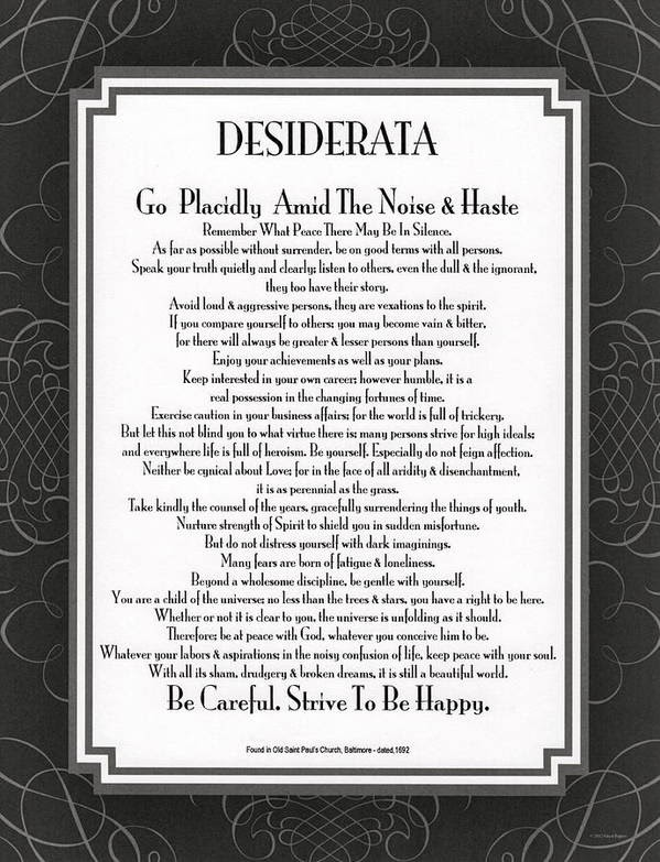 Image result for desiderata poem by max ehrmann