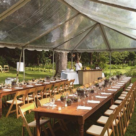 Intimate backyard wedding   Clear top tent   Rustic farm