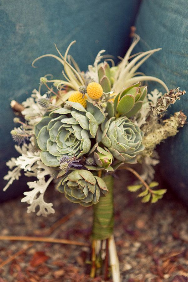 Succulents dusty miller and xerographica bouquet for rustic wedding