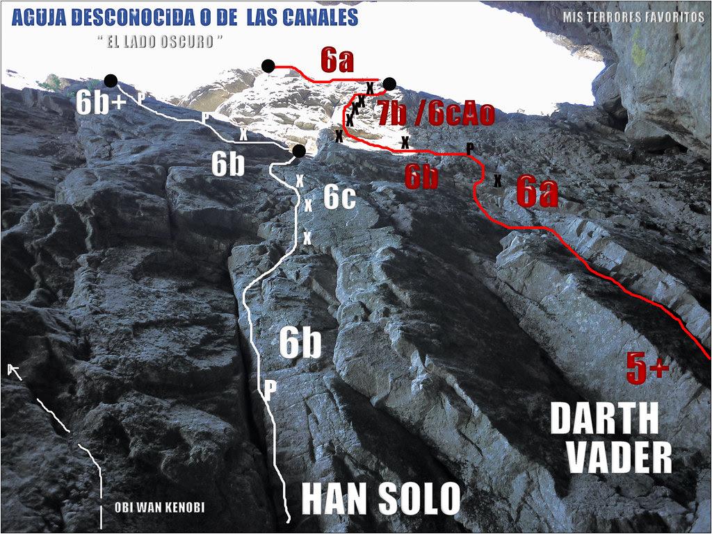 RESEÑA EL LADO OSCURO - AGUJA DE LAS CANALES - VIAS hAN SOLO ED 6c Y DARTH VADER EDsup 7b / 6cA0