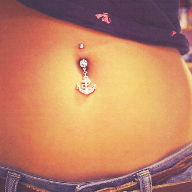 Pugster Anchor belly button ring