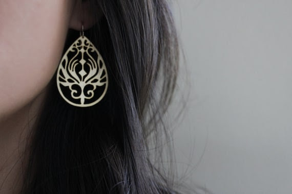 Peacock Teardrop Earrings - Paisley Peacock - Gold