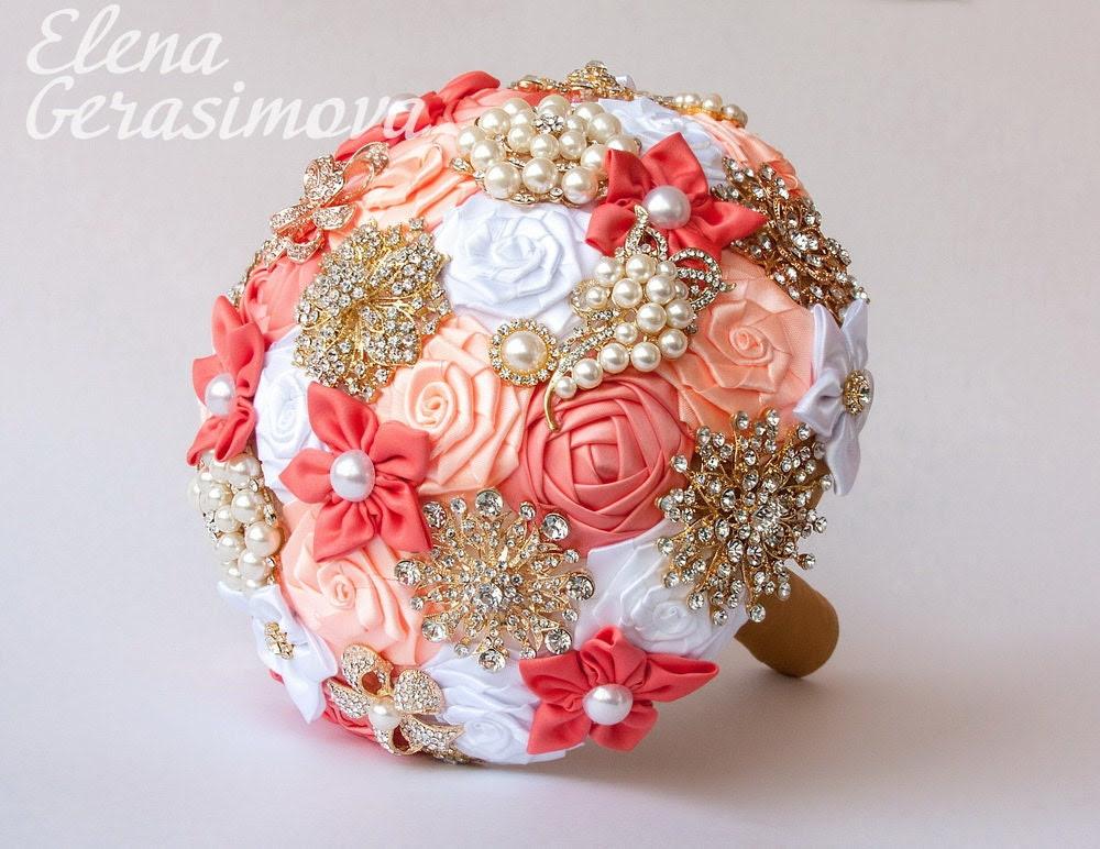 SALE!!! Brooch Bouquet. Coral White Fabric Bouquet, Unique Wedding Bridal Bouquet