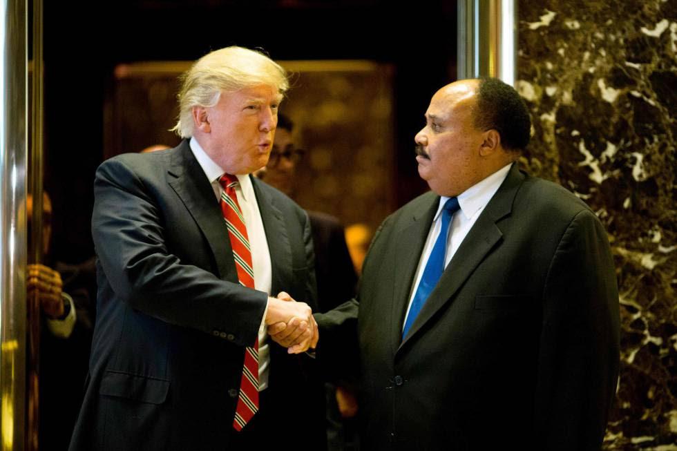 Trump con Martin Luther King III, este lunes en Nueva York