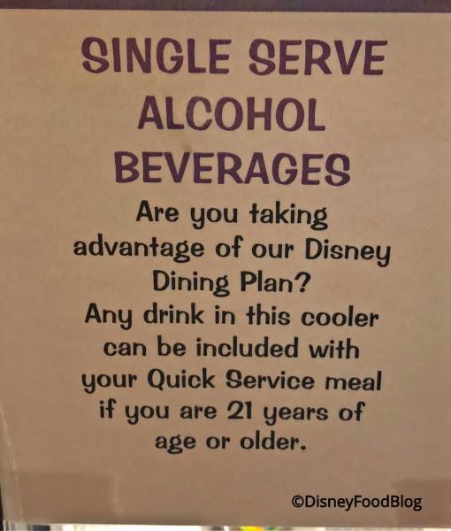 Single Serve alcohol sign at Landscape of Flavors