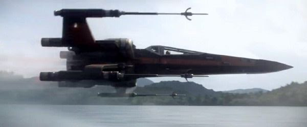 Poe Dameron puts his X-Wing's S-foils in attack position as he prepares for battle in STAR WARS: THE FORCE AWAKENS.