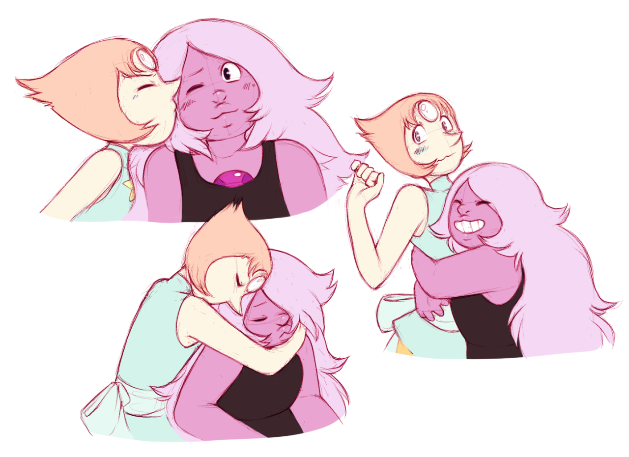 For the kiss, Pearl's either crouching or Amethyst is standing on a box, take your pick~