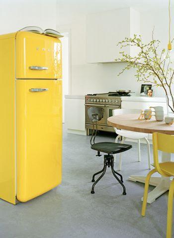 kitchen: yellows in neutral background