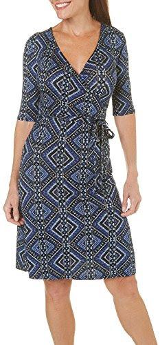 Gilli Womens Tribal Print Wrap Dress Medium Blue