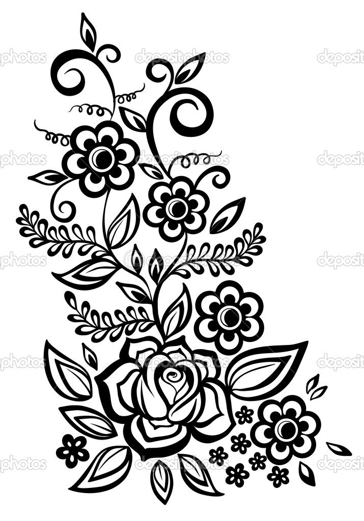 Free Black And White Flower Design Download Free Clip Art Free