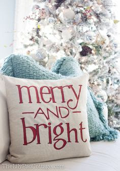 Christmas Pillow - and a ketchup chair - The Lilypad Cottage