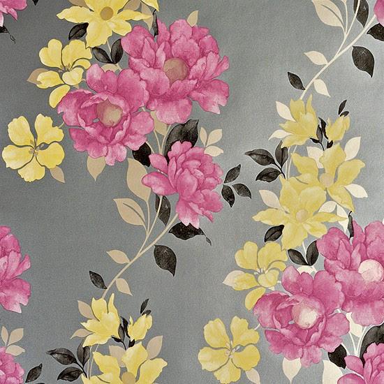 Duchessa in Damson/Grey wallpaper from Homebase ...