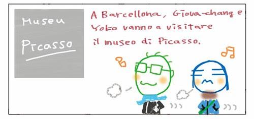 A Barcellona, Giova-chang e Yoko vanno a visitare il museo di Picasso.