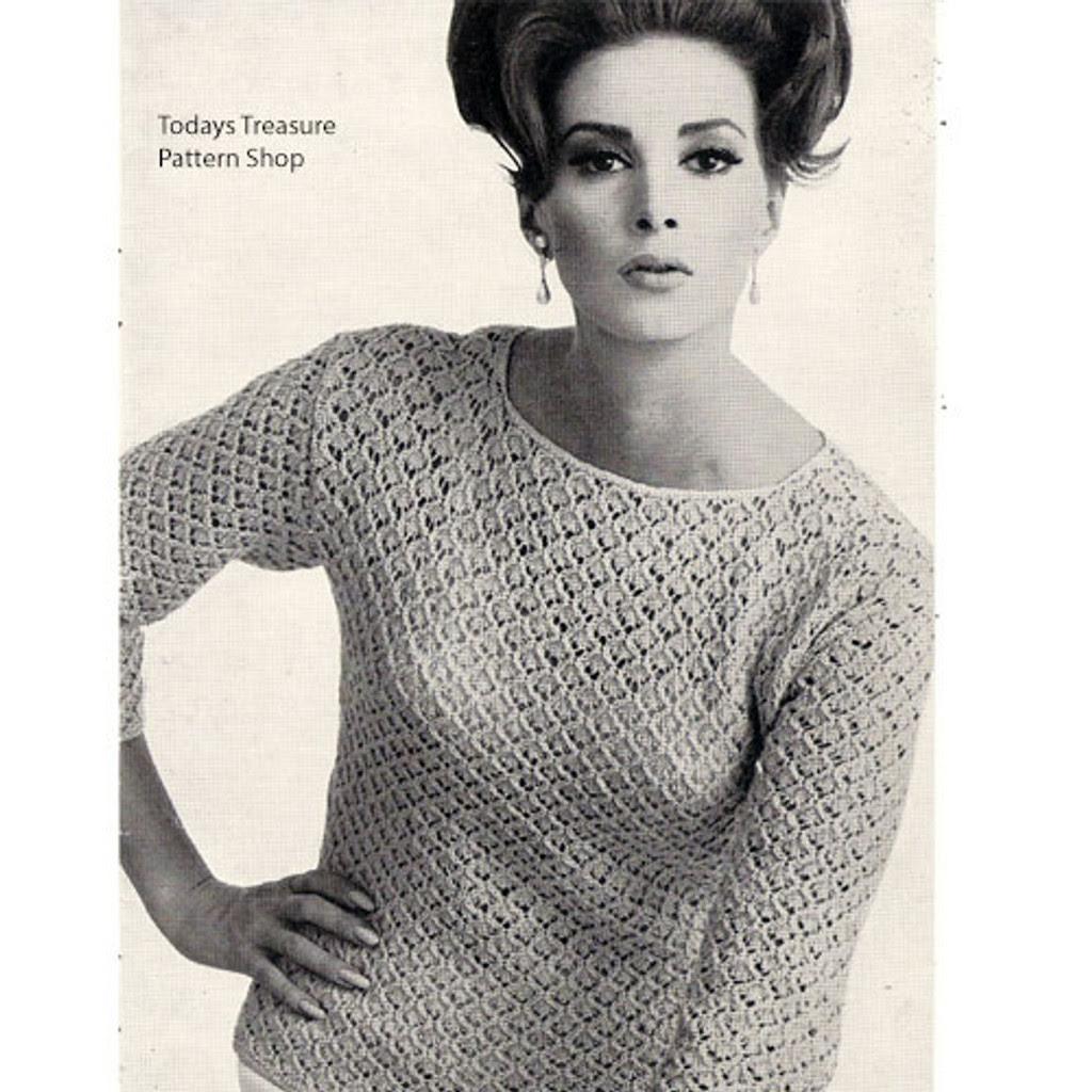 Knitting Pattern Lace Long Sleeve Bouse