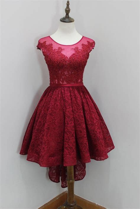 Lovely Wine Red Lace High Low Round Neckline Prom Dresses