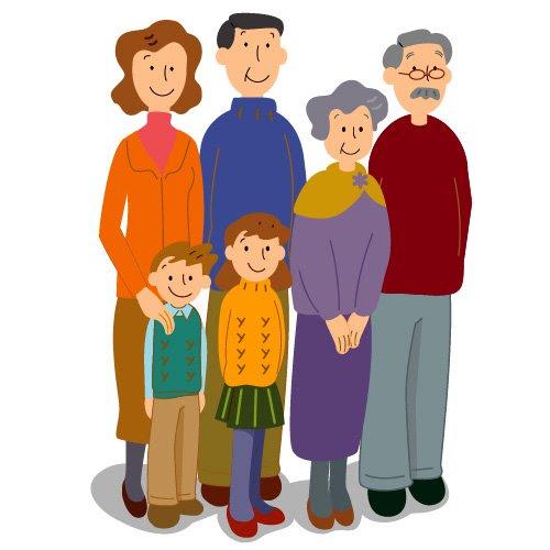 Peo02080 6人家族 イラストライブラリ Webから印刷用まで使える